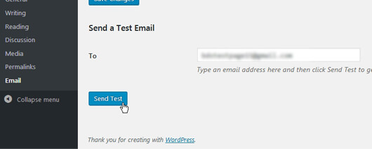 WP Mail SMTP Configuration page with Test Mail section - image