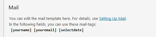 Form-tag name is displayed in the Mail tab - image