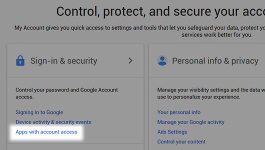 Apps with account access under Sign-in and security page - image