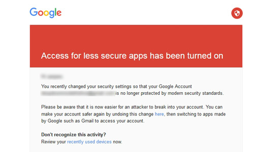 Receiving a message to your inbox from Gmail for security mail - image