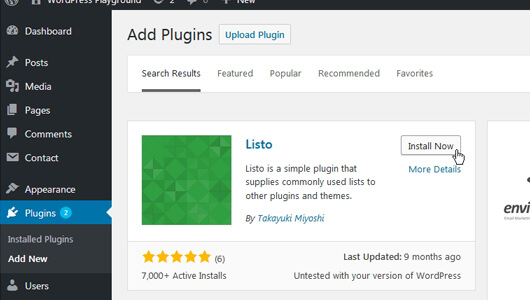 Installing Listo WP Plugin from the Plugins page - image