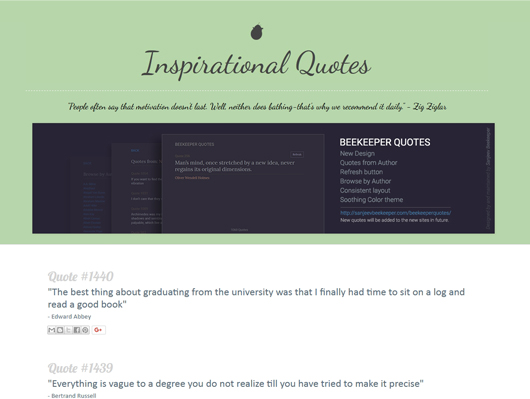 Screenshot of a Old Beekeepers quotes website - image