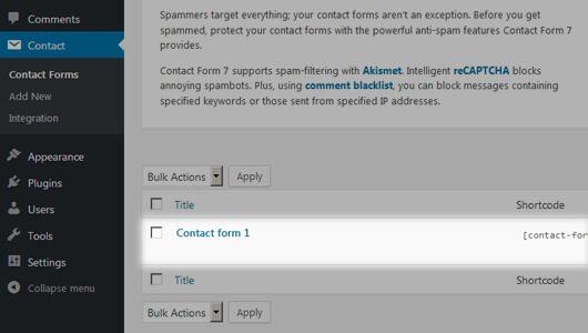 Contact-Form-7 page with a default form - image