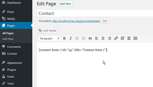 Contact menu page with the Contact-Form-7 shortcode pasted - image