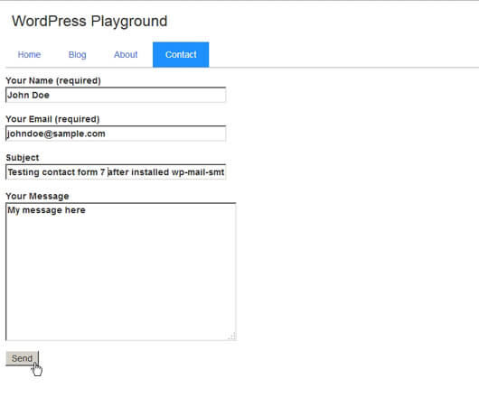 Front end form input filled and ready to send - image