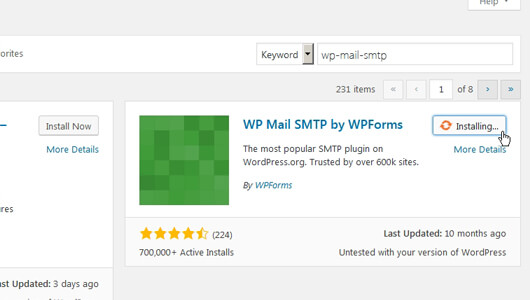 WP Mail SMTP Plugin activation on the wp plugins page - image