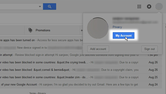 My Account button in your Gmail logged in page - image