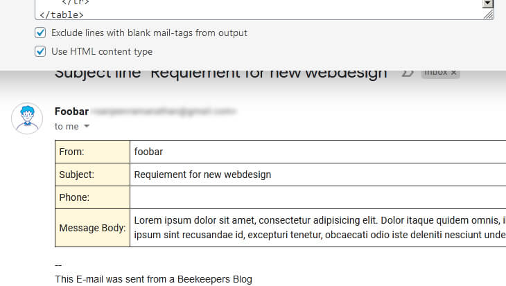 'Exclude lines with blank mail-tags output' is checked and showing the results in the Email page.