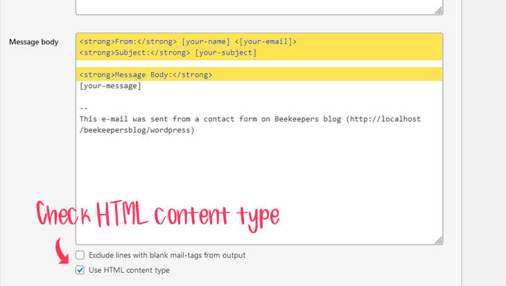 Message body with HTML 'strong' element and Use HTML content type checkbox is checked