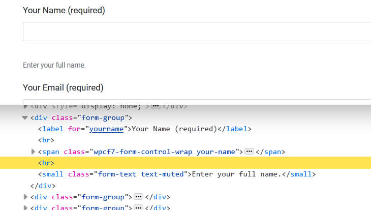 Screenshot of the form in the browser and the DOM to show the line break - beekeepersblog.com