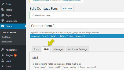 Contact-form-7 Mail tab - image