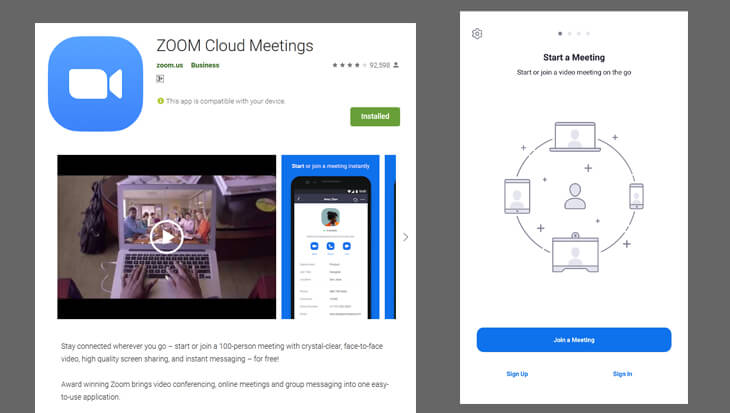 Screenshot of Google App Store and Zoom Cloud Meeting for Android - beekeepersblog.com
