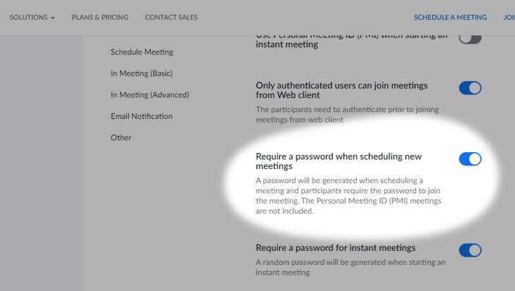 Require a password when scheduling new meetings - beekeepersblog.com
